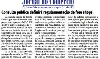 Jornal do Comércio: Consulta pública definirá regulamentação de free shops