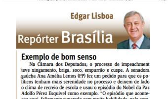 Jornal do Comércio: Edgar Lisboa - Exemplo de bom senso