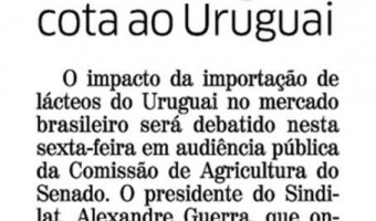 Correio do Povo: Sindilat sugere cota ao Uruguai