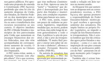 Editorial do jornal O Estado de S.Paulo destaca PEC da senadora Ana Amélia