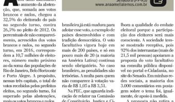 """""""Democracia brasileira já está madura para adotar o voto facultativo"""", diz Ana Amélia"""