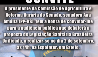 Comissão de Agricultura do Senado promove debate dia 2 de setembro na Expointer