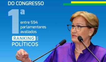Ana Amélia é avaliada como a melhor parlamentar do Congresso em 2017 pelo Ranking dos Políticos