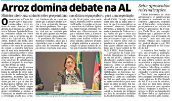 Correio do Povo: Arroz domina debate na AL