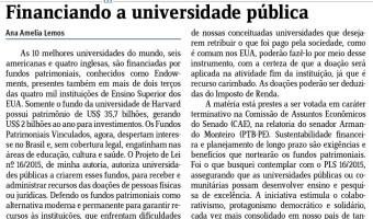 Em artigo no Jornal do Comércio, Ana Amélia destaca PL que cria fundos para universidades públicas e comunitárias
